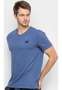 Camiseta Calvin Klein Gola V Masculina - Masculino-Azul Escuro