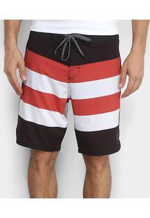 Boardshort Lost Stripes Masculino - Masculino-Vermelho+Branco