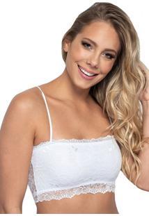 Sutiã Click Chique Básico Top Faixa Sem Bojo Branco