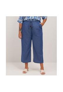 Calça Pantacourt Em Jeans Liocel Curve & Plus Size   Ashua Curve E Plus Size   Azul   G
