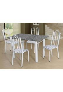 Conjunto De Mesa Luiza Com 4 Cadeiras Branca Capitonãª