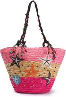 Bolsa De Praia Palha Com Bordados E Contas De Madeira Estrela Do Mar - Feminino-Rosa