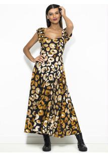 Vestido Cropped De Linho Pintas Patch Preto
