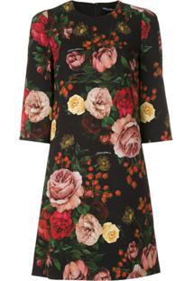 Dolce & Gabbana Vestido Curto Estampa Floral - Preto