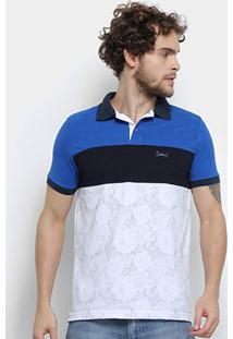 Camisa Polo Jimmy'Z Tricolor Masculina - Masculino-Marinho+Branco