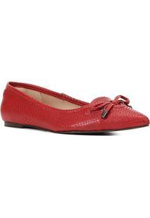 Sapatilha Couro Shoestock Bico Fino Cobra Laçofeminina - Feminino-Vermelho
