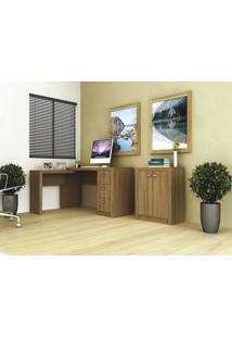 Conjunto Home Office 2 Peças Tecno Mobili: 1 Escrivaninha Em L E 1 Balcão - Amêndoa - Multistock