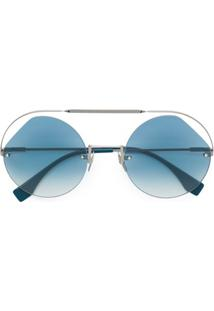 Fendi Eyewear Ribbons & Crystals Sunglasses - Prateado
