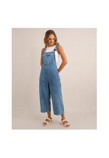 Macacão Jeans Cropped Com Bolso Azul Médio