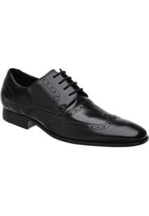 Sapato Social Couro Oxford Malbork Masculino - Masculino-Preto