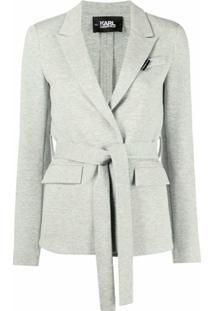 Karl Lagerfeld Blazer De Jérsei Com Cinto - Cinza