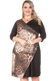 Vestido Transpassado Preto Plus Size