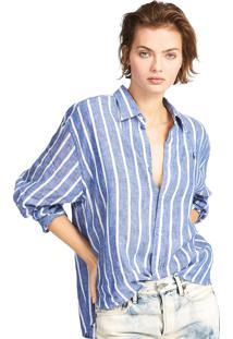 Camisa Linho Polo Ralph Lauren Reta Relaxed Azul