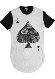 Camiseta Manga Curta Skull Clothing Poker Floral Branco