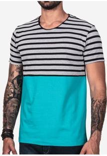 Camiseta Meio A Meio Listrado E Turquesa 101976