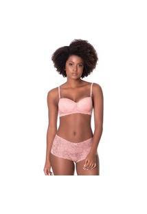 Conjunto Click Chique Sexy Caleçon Rendado Rosa