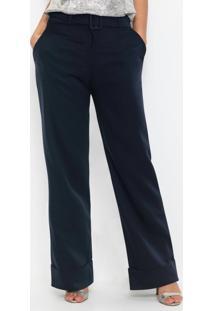 Calça Pantalona Com Cinto Azul Marinho