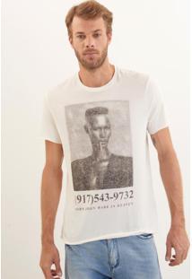 Camiseta John John Rx Singer Pixels Malha Off White Masculina (Off White, G)