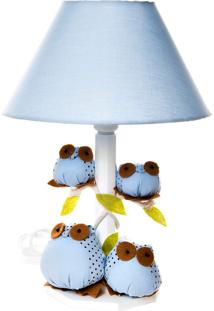 Abajur Madeira Coruja Quarto Bebê Infantil Menino Potinho De Mel Azul