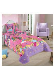 Edredom Solteiro Infantil Barbie Reinos Mágicos 150X220Cm Lepper Rosa