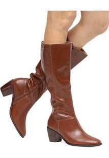Bota Couro Shoestock Cano Longo Feminina - Feminino-Caramelo