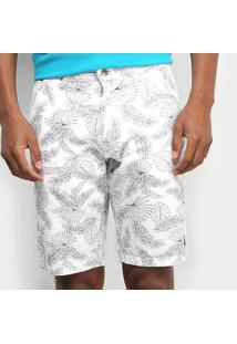 Bermuda Aleatory Bolso Faca Masculina - Masculino-Branco+Preto