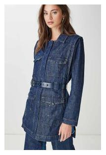 Trench Coat Mix Jeans Azul Denim