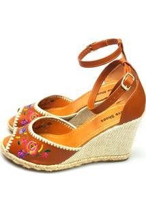 Anabela Love Shoes Frida Espadrille Bordados Floral Caramelo