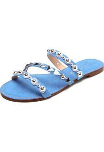 Rasteira Luiza Barcelos Pedraria Azul