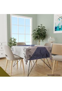 Toalha De Mesa Quadrada Para 4 Lugares Flor Com Geométrico 1.45M X 1.45M Único