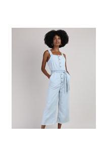 Macacão Jeans Feminino Pantacourt Com Botões E Faixa Para Amarrar Alça Larga Azul Claro