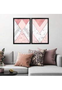 Quadro Com Moldura Chanfrada Triângulo Com Mármore Preto - Médio