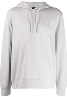 Y-3 Logo Drawstring Hoodie - Cinza