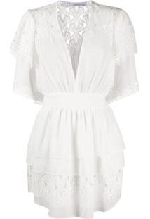 Iro Vestido Com Detalhe De Renda - Branco