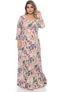 Vestido Genova Bege Plus Size