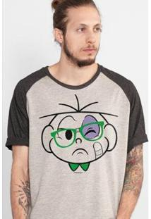 Camiseta Bandup! Raglan Turma Da Mônica Cebolinha Nerd Apanhou Masculina - Masculino-Bege