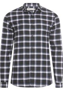 Camisa Masculina Xadrez Flanela - Preto