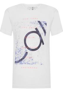 Camiseta Masculina Manga Curta Logo Cidades - Branco