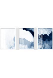 Quadro 60X120Cm Abstrato Ágata Azul Moldura Branca Sem Vidro Decorativo Interiores