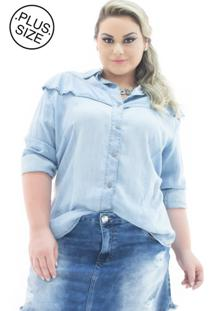 Camisa Jeans Plus Size - Confidencial Extra Manga Longa Com Babado Plus Size Azul