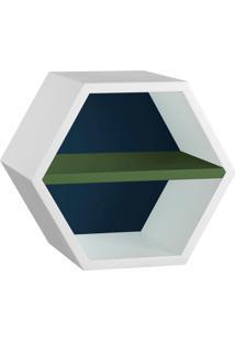 Nicho Hexagonal Favo Ii Com Prateleira Branco Com Azul Noite E Verde Musgo