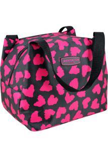 Bolsa Térmica Animal- Preta Rosa- 23X17X19Cm- Jacki Design