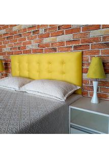 Cabeceira Painel Botonê 15 Suede Amarelo Queen 160 X 60