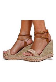 Sandália Anabela Plataforma Sb Shoes Ref.3280 Caramelo