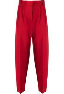 Alexander Mcqueen Calça De Lã Virgem - Vermelho