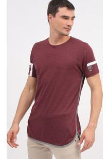 Camiseta Mescla Com Recortes- Bordã´ & Cinza- Tritonforum