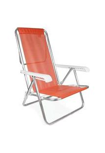 Cadeira Reclinavel 8 Posições Aluminio Anis Laranja