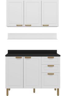 Cozinha Modulada 4 Peças Com Tampo E Nevada 5918Tp-Multimóveis - Branco Premium