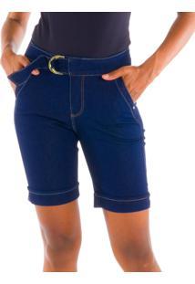 Bermuda Jeans Loony Com Cinto Meia Lua Jeans Azul