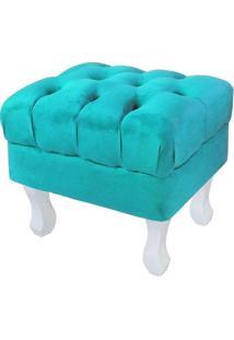 Puff Retrô Luis Xv Capitonê Pés Branco Suede Azul Tiffany - D'Rossi